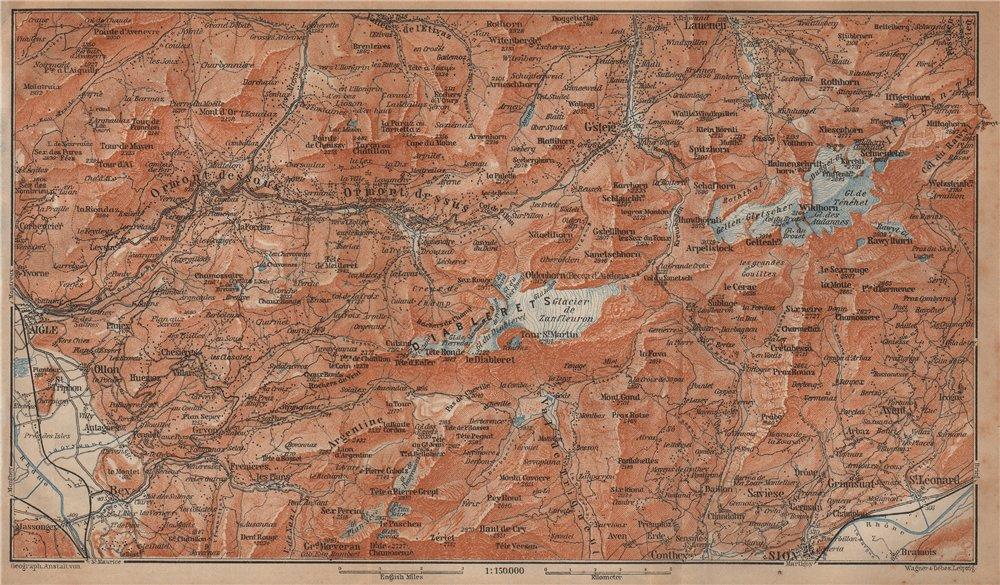 Associate Product AIGLE DISTRICT.Les Diablerets Villars Gryon Leysin Les Mosses Ormont 1901 map