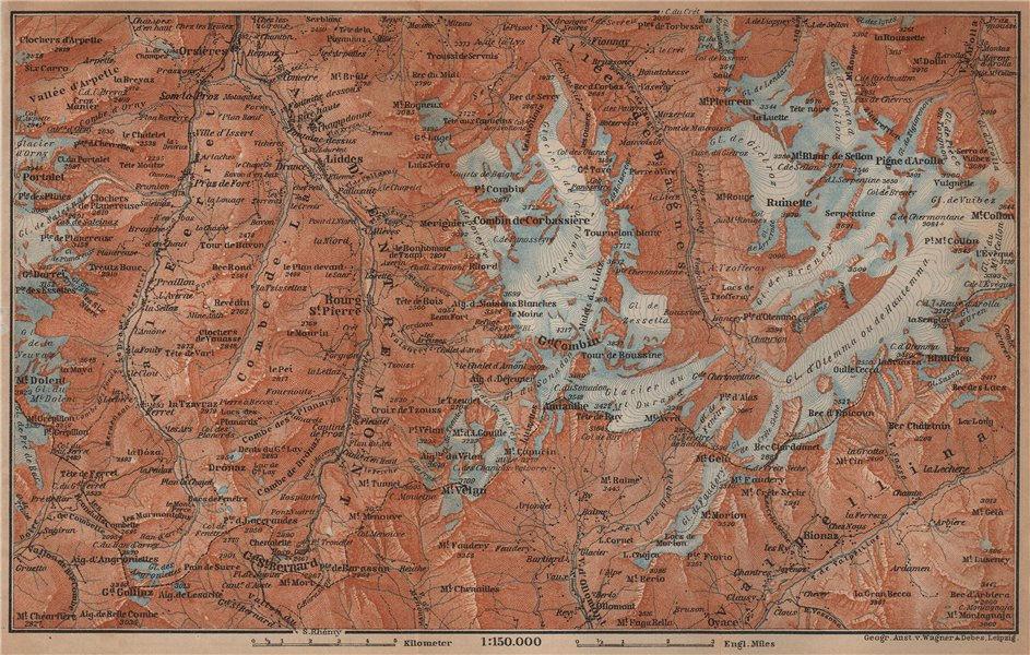 Associate Product GRAND ST BERNARD ENVIRONS Arolla Grand Combin Massif Orsières Mt Velan 1901 map