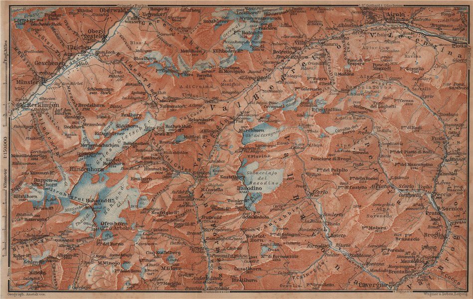 Associate Product GRIES PASS & NW TICINO ALPS. Val Bedretto Airolo Basodino Ofenhorn 1901 map