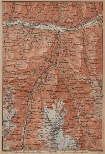 Associate Product STALDEN/SAAS-FEE AREA. Mischabel Group Grächen Dom Raron Randa Visp 1901 map