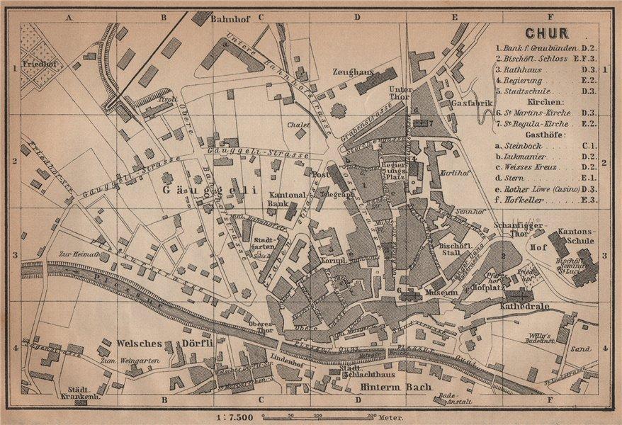 Associate Product COIRE / CHUR. Chur. town city stadtplan. Switzerland Suisse Schweiz 1901 map