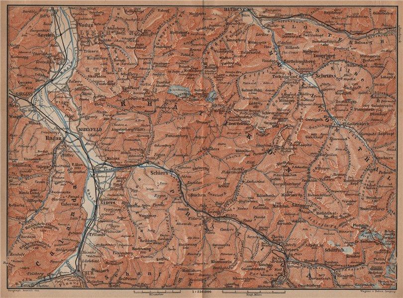 Associate Product BAD RAGAZ PRÄTIGAU MONTAFON ENVIRONS. Wangs Rätikon Bludenz Maienfeld 1901 map