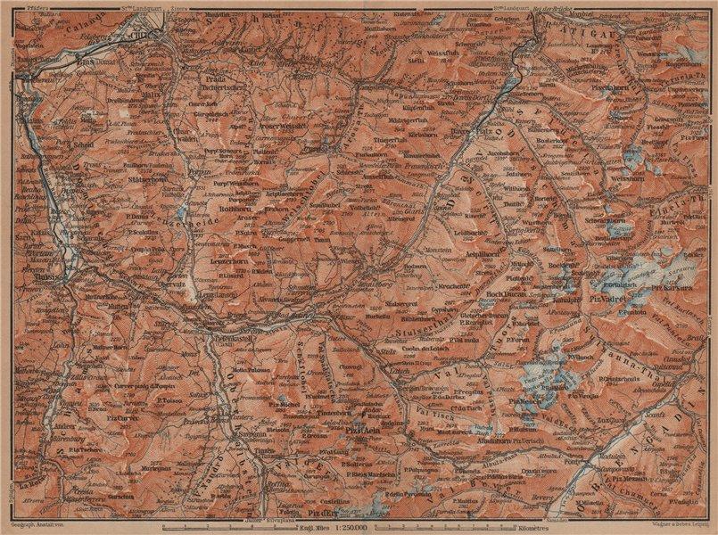 Associate Product GRAUBÜNDEN/ALBULA ALPS. Chur-Samedan. Arosa Lenz Davos Savognin Thusis 1901 map