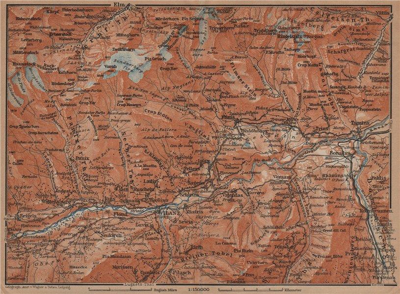 Associate Product ILANZ & FLIMS AREA. Laax Obersaxen Mundaun Brigels Waltensburg Tamins 1901 map