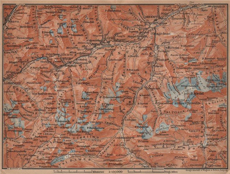 Associate Product VAL TAVETSCH/MEDEL. Andermatt Disentis Sedrun Wassen Piz Medel. Topo-map 1901