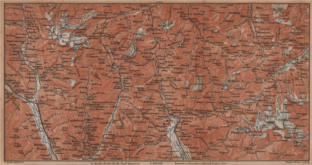 Associate Product LUKMANIER to MALOJA.Sils Maria Bivio Madesimo Chiavenna San Bernardino 1901 map