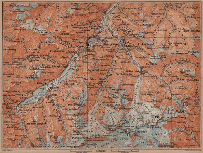 Associate Product UPPER ENGADINE. St Moritz Celerina Pontresina Sils-Maria Bernina Range 1901 map
