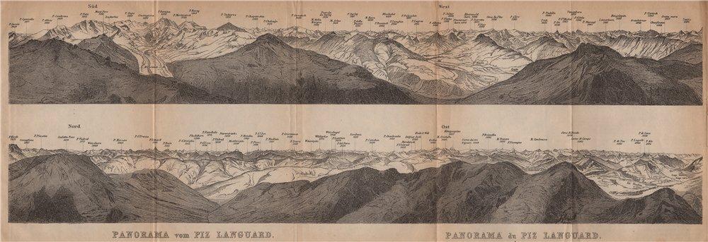 Associate Product PIZ LANGUARD PANORAMA. Bernina Roseg Monte Rosa Mont Blanc Cristallo 1901 map