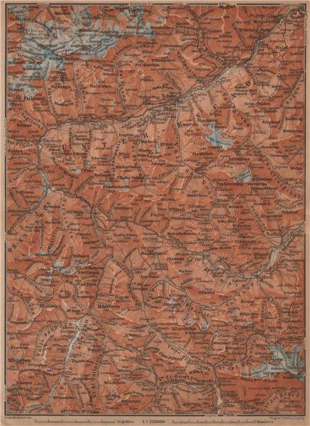 Associate Product LOWER ENGADINE. Livigno Bormio Ftan Scuol Silvretta Range Piz Buin 1901 map