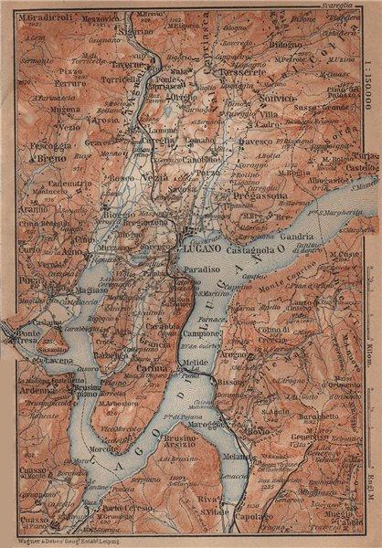 Associate Product LUGANO ENVIRONS. Lake Lago di. Topo-map. Switzerland Suisse Schweiz 1901