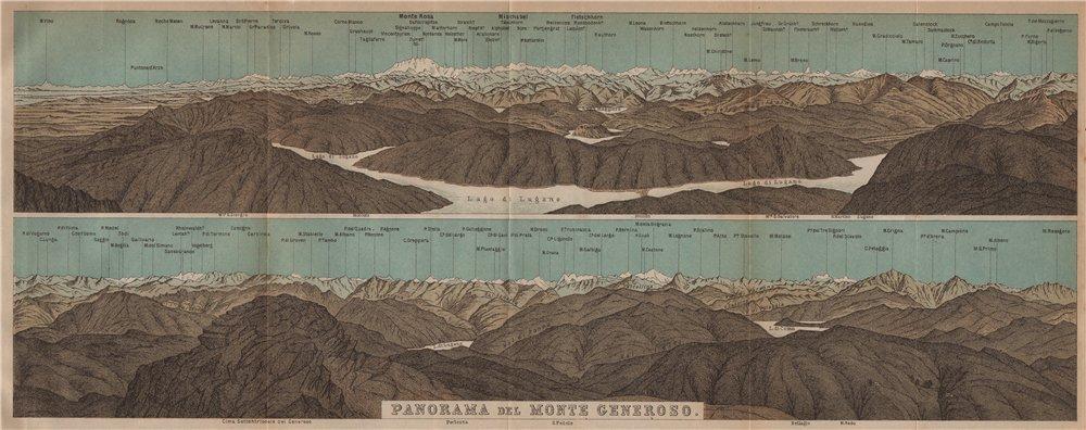 Associate Product MONTE GENEROSO PANORAMA. Lugano Como Maggiore Rosa Mischabel Disgrazia 1901 map