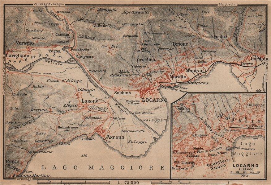 Associate Product LOCARNO area. Losone Gordola Muralto Brione. Switzerland Suisse Schweiz 1901 map