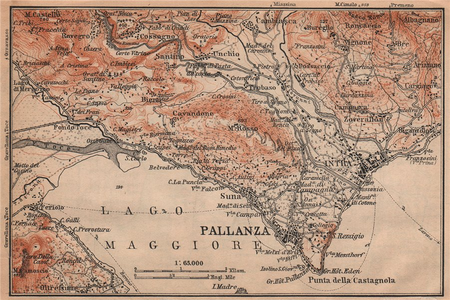 Associate Product PALLANZA ENVIRONS. Verbania. Intra Unchio. Italy mappa. BAEDEKER 1901 old