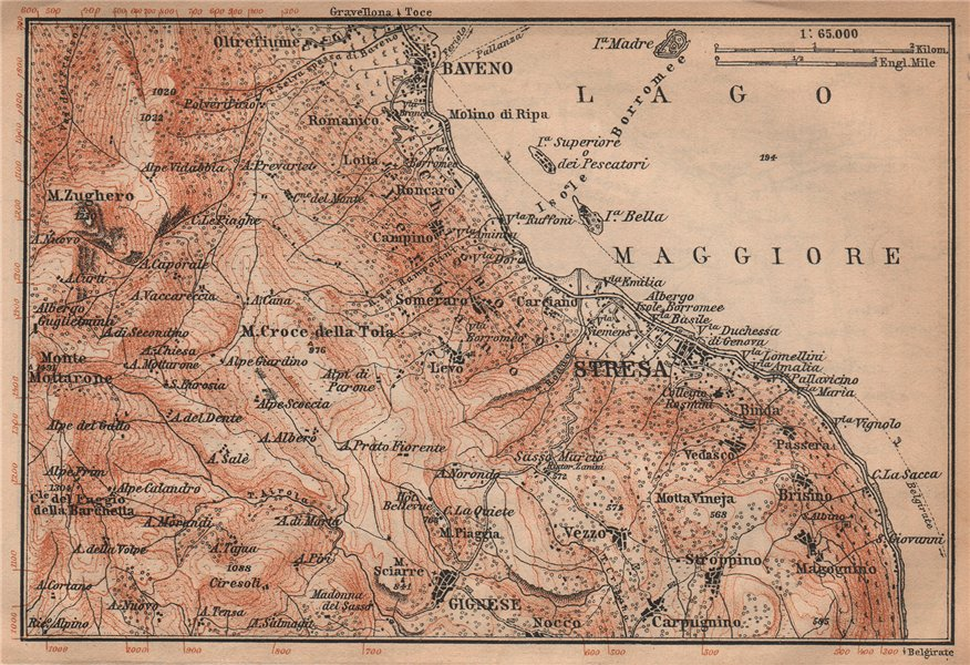 Associate Product STRESA ENVIRONS. Baveno Gignese. Italy mappa. BAEDEKER 1901 old antique