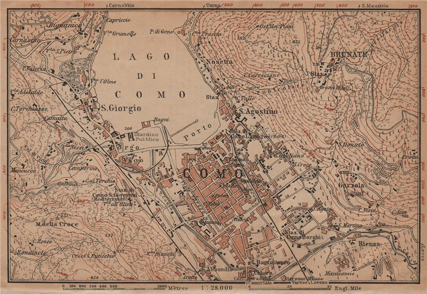 Associate Product COMO ENVIRONS. Brunate San Giorgio. Italy mappa. BAEDEKER 1901 old antique