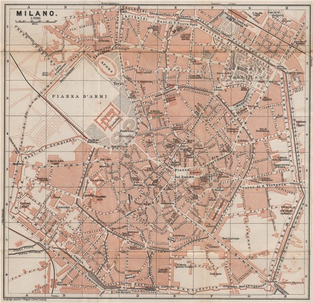 Associate Product MILAN MILANO. town city plan piano urbanistico. Italy mappa. BAEDEKER 1901