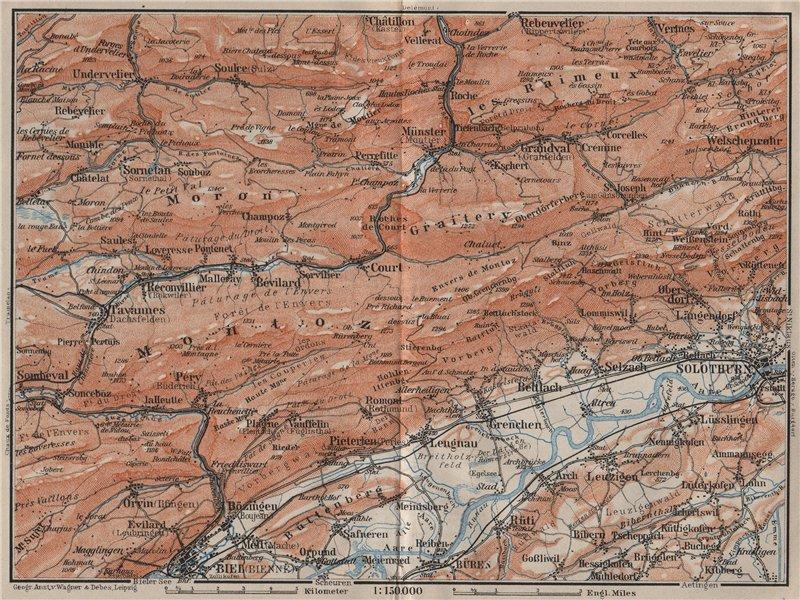 Associate Product BERNESE JURA. Solothurn Biel/Bienne Rebeuvelier Tavannes. Topo-map 1905