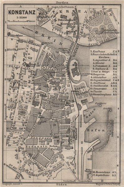 Associate Product CONSTANCE. KONSTANZ. town city stadtplan. Germany karte. BAEDEKER 1905 old map