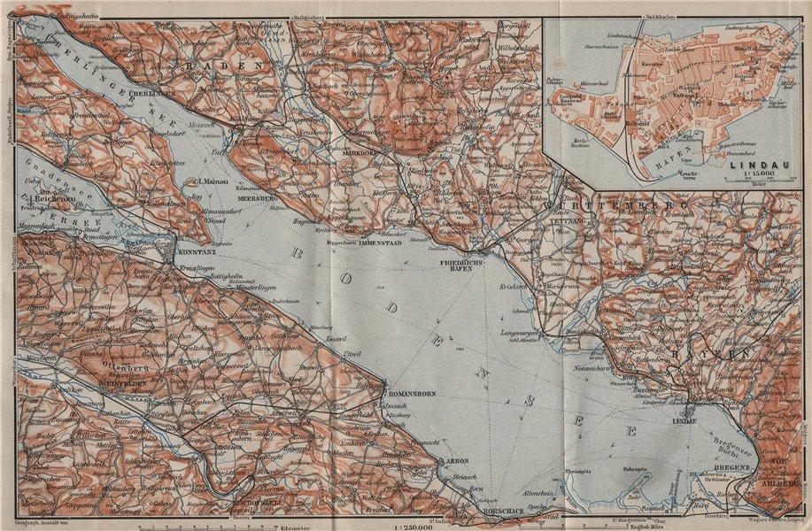 Associate Product LAKE CONSTANCE inset LINDAU. Konstanz St Gallen Bregenz. Topo-map 1905 old