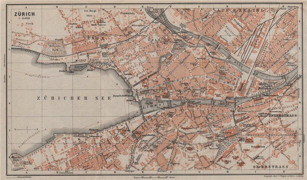 ZÜRICH. Zurich. town city stadtplan. Switzerland Suisse Schweiz 1905 old map