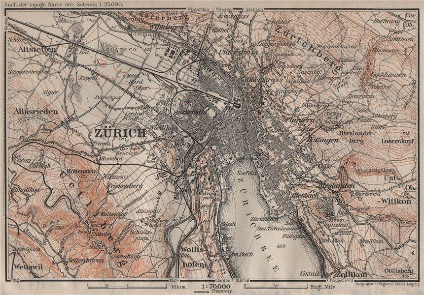 Associate Product ZÜRICH ENVIRONS. Zurich. Switzerland Suisse Schweiz carte karte 1905 old map