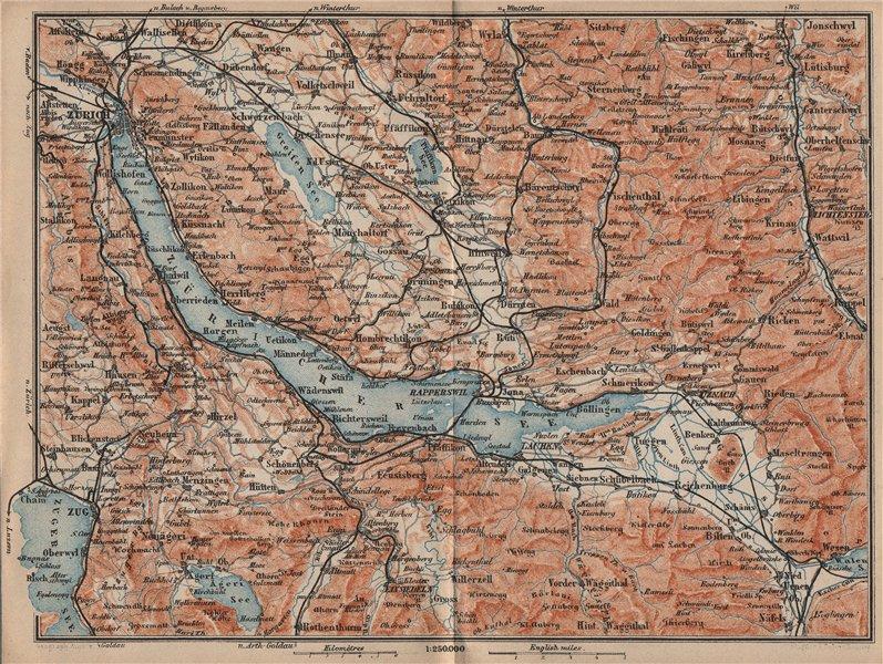 Associate Product LAKE ZÜRICH. Zuricher See Lachen Utznach.Topo-map. Switzerland Schweiz 1905