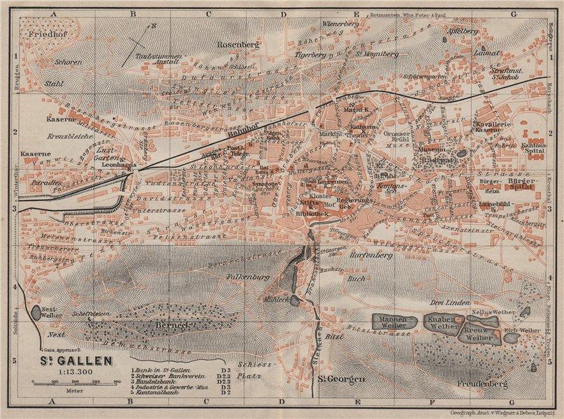 Associate Product ST. GALLEN. town city stadtplan. Switzerland Suisse Schweiz. BAEDEKER 1905 map