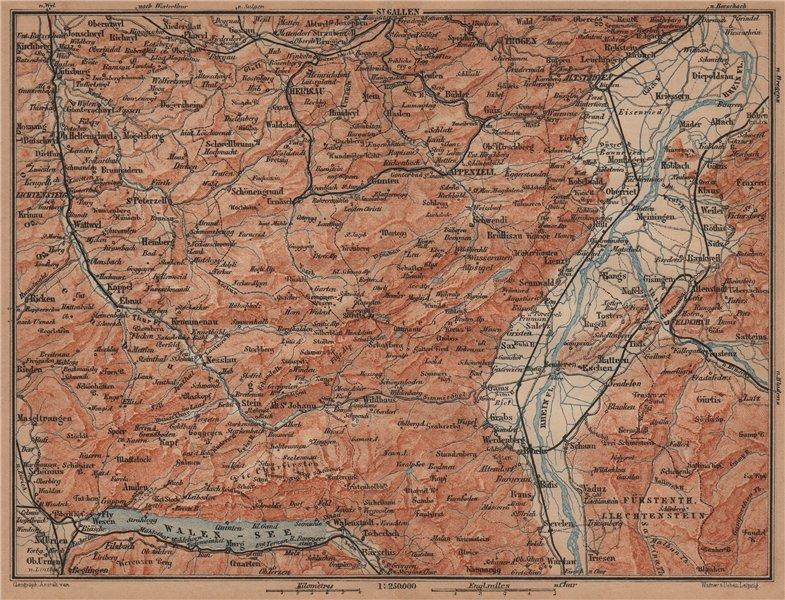 Associate Product APPENZELL CANTON. Wildhaus Unterwasser St. Gallen Trogen Walensee 1905 old map