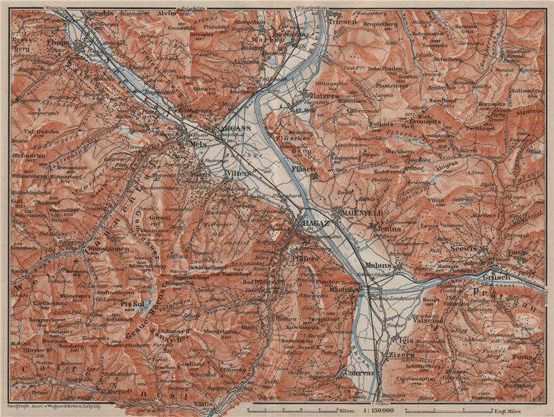 Associate Product BAD RAGAZ. Malbun Flums Wangs Pizol Sargans Grusch Malans Maienfeld 1905 map