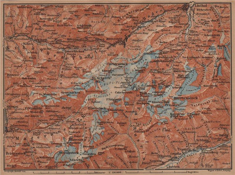 Associate Product TÖDI DISTRICT. Glarus Alps Linththal Bifertenstock Claridenstock 1905 old map
