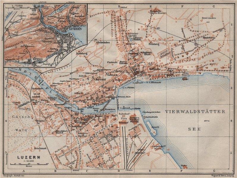 Associate Product LUCERNE LUZERN. town city stadtplan. Switzerland Suisse Schweiz 1905 old map