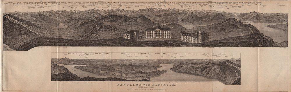 PANORAMA from/von RIGIKULM 1800m. Küssnacht. Switzerland Schweiz 1905 old map