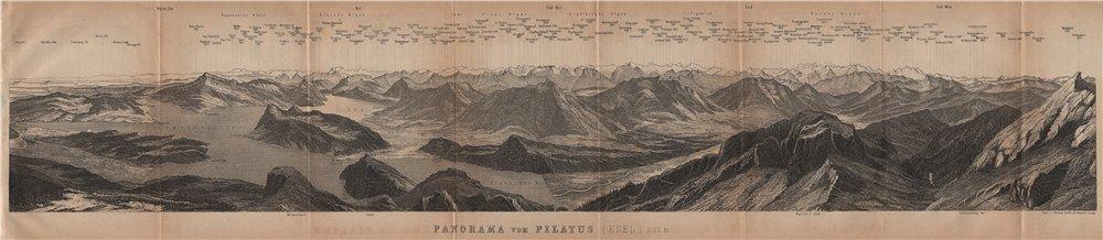 Associate Product PANORAMA from/von PILATUS. Vierwaldstättersee. Lake Lucerne. Schweiz 1905 map
