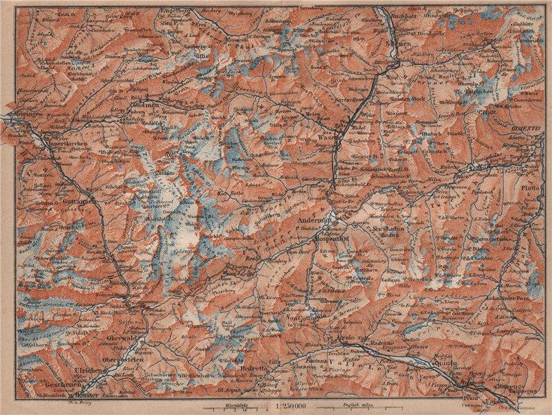 Associate Product ST GOTTHARD area. Andermatt Engelberg Silenen Gadmen Ulrichen Disentis 1905 map