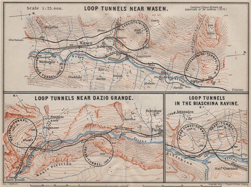 Associate Product ST GOTTHARD RAILWAY SPIRAL/LOOP TUNNELS Wassen Freggio Prato Biaschina 1905 map