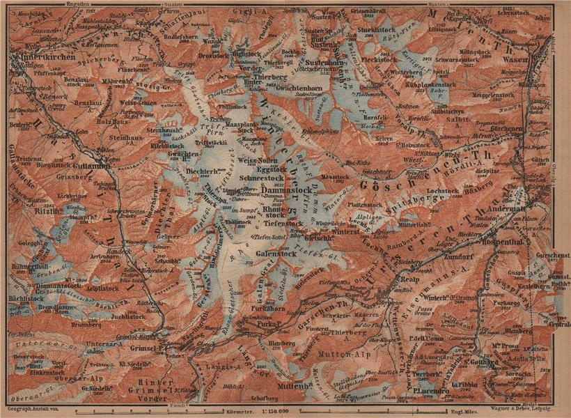 Associate Product URNER/URI ALPS. Trift district. Andermatt Innertkirchen Dammastock 1905 map