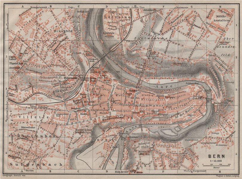 Associate Product BERN BERNE. town city stadtplan. Switzerland Suisse Schweiz. BAEDEKER 1905 map