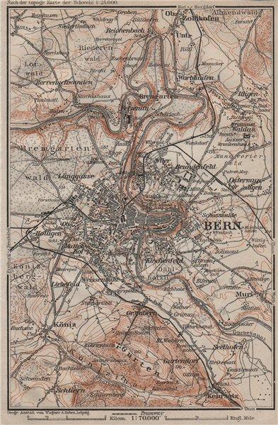 Associate Product BERN BERNE ENVIRONS. Switzerland Suisse Schweiz carte karte. BAEDEKER 1905 map