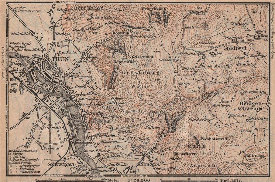 Associate Product THUN ENVIRONS. Goldiwyl. Switzerland Suisse Schweiz carte karte 1905 map