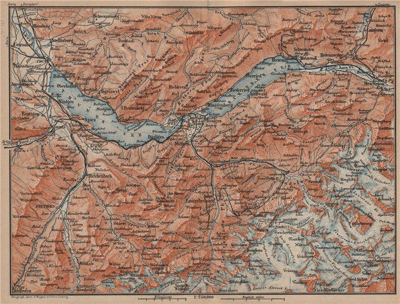 Associate Product BERNESE OBERLAND. Wengen Mürren Grundelwald Reutigen Interlaken Eiger 1905 map
