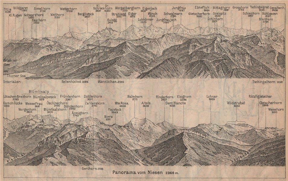 Associate Product PANORAMA from/von NIESEN 2366m. Blumisalp Jungfrau Switzerland Schweiz 1905 map