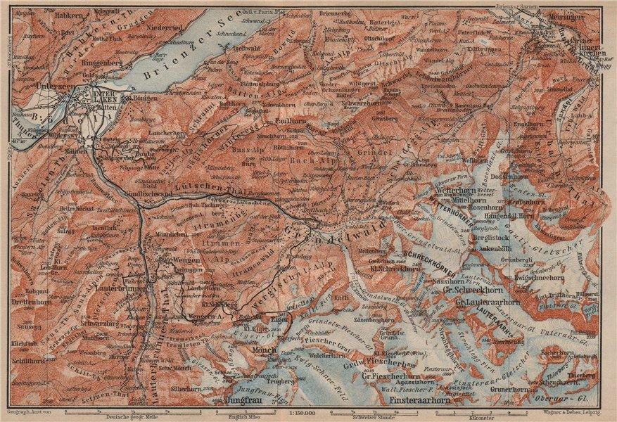 Associate Product GRINDELWALD environs. Wengen Mürren Jungfrau Wetterhorn Interlaken 1905 map
