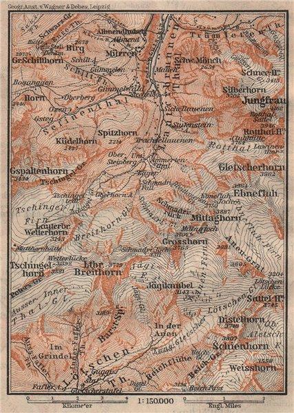 Associate Product UPPER LAUTERBRUNNEN VALLEY/WALL. Mürren Grosshorn Jungfrau. SMALL 1905 old map