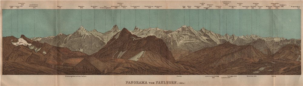 Associate Product PANORAMA from/vom FAULHORN. Berner Oberland. Bernese Oberland 1905 old map