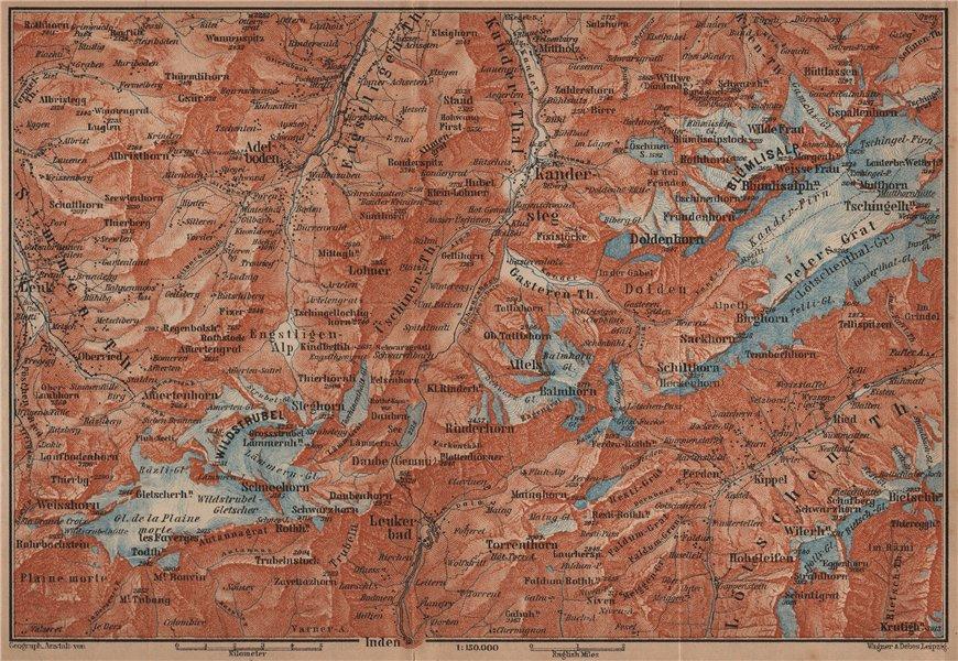 KANDERSTEG area.Blumisalp Adelboden Wildstrubel Rinderhorn Torrenthorn 1905 map