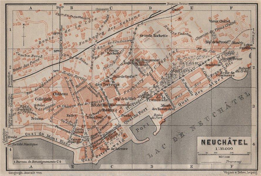 Associate Product NEUCHÂTEL / NEUENBURG. town city plan. Switzerland Suisse Schweiz 1905 old map