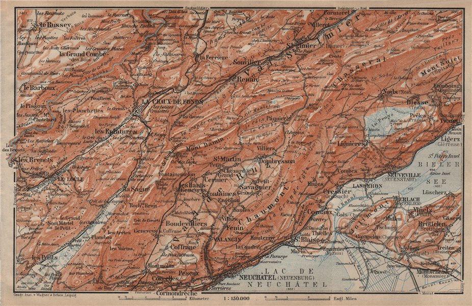 Associate Product NORTH WEST JURA. Neuchâtel La Chaux de Fonds Neuveville. Topo-map 1905 old