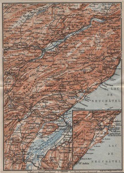 Associate Product JURA. Val-de-Travers Orbe Noiraigue Yverdon Grandson Môtiers Buttes 1905 map