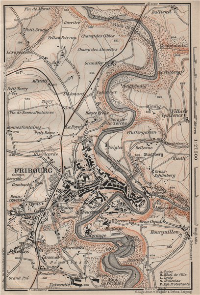 Associate Product FRIBOURG / FREIBURG ENVIRONS. Switzerland Suisse Schweiz carte karte 1905 map