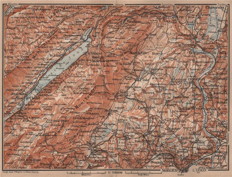 Associate Product WESTERN JURA. Morges Cossonay Vaulion Mont Risoux/Tendre Lac de Joux 1905 map